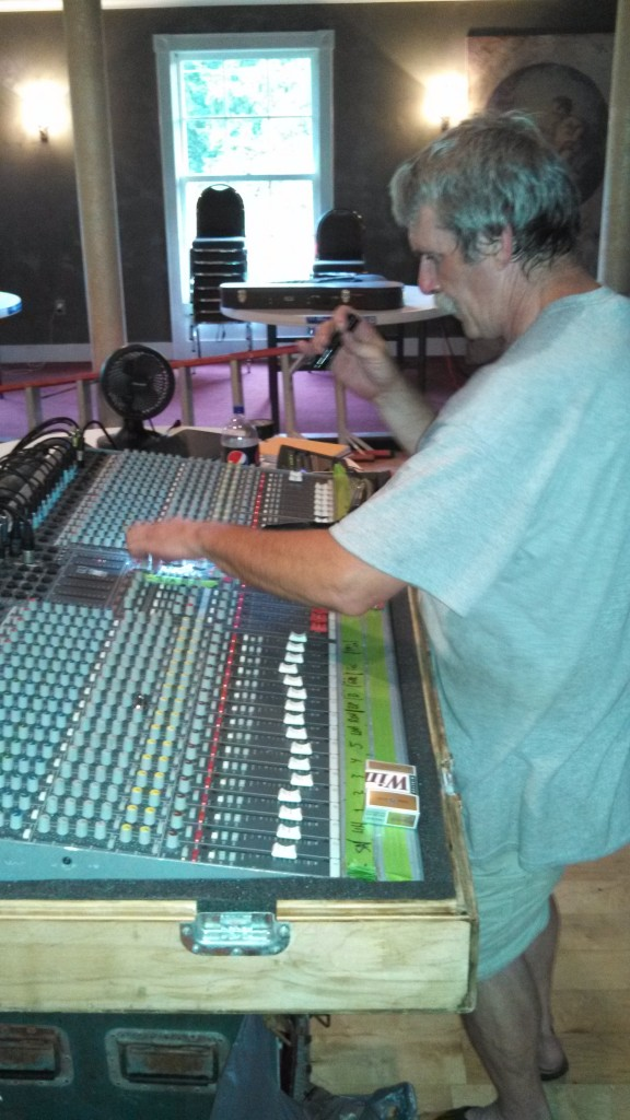 Engineer Bob Larkin at the board.  This is his SMALL rig from Hurricane Sound.