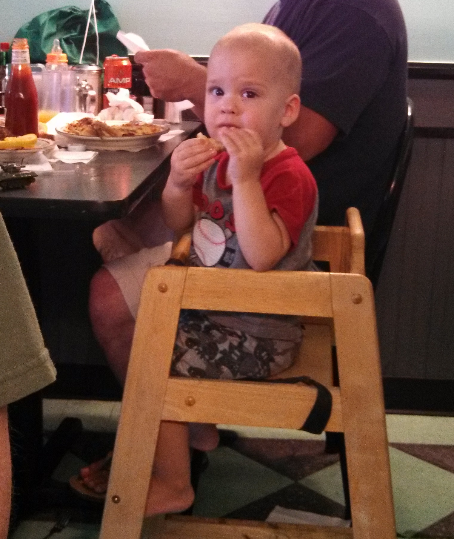 Our Youngest Fan.  This kid would not stop staring at us.  He was mesmerized.